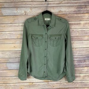 3/$30 Hollister S Olive Army Green Button Down Top